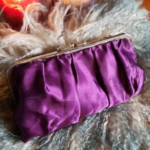 Vintage purple reversible clutch evening bag